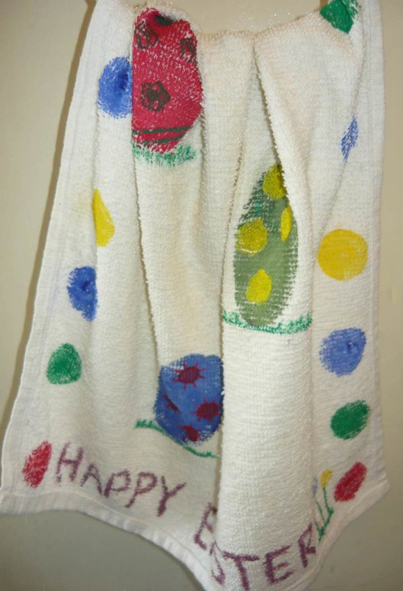What a pretty dish towel for Easter!