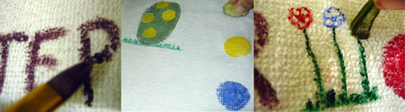 Decorate the Easter dish towel