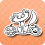 Cats and Pumpkins - free Halloween coloring worksheet for kids
