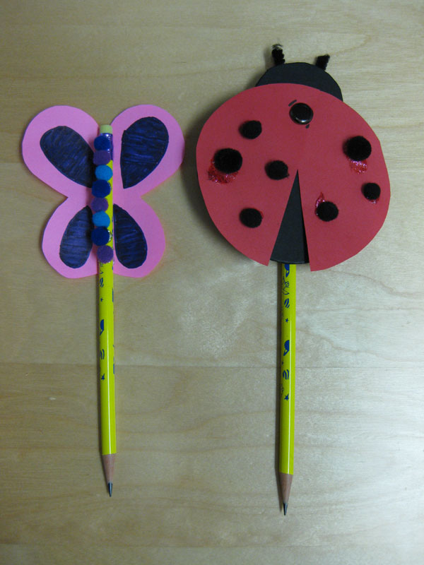 Finished Ladybug and Butterfly Pencil Topper