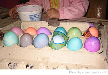 dying Easter eggs with natural colors