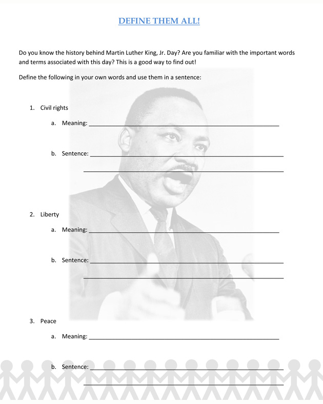 Martin Luther King Jr Lesson Plan Worksheet Product | Party ...