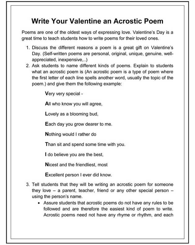 How to write a poem for valentines