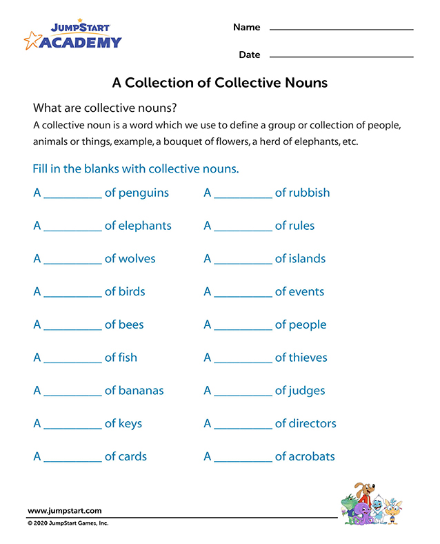 ... Nouns Worksheet – Free Worksheet on Collective Nouns Words