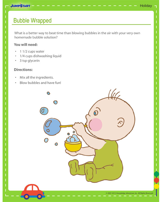 Bubble Wrapped - Free holiday activity printout