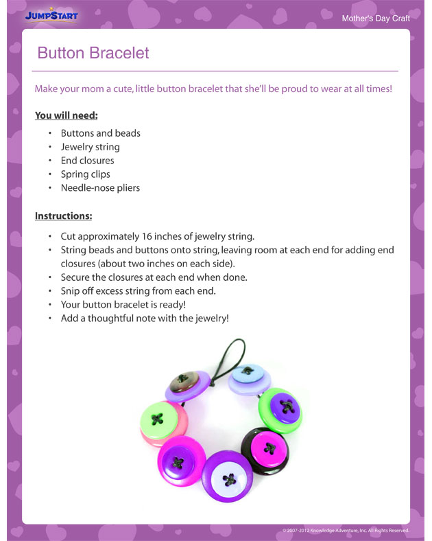 Button Bracelet – Mother's Day craft