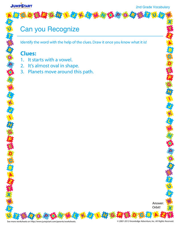 Can You Recognize? – free vocabulary worksheet for kids