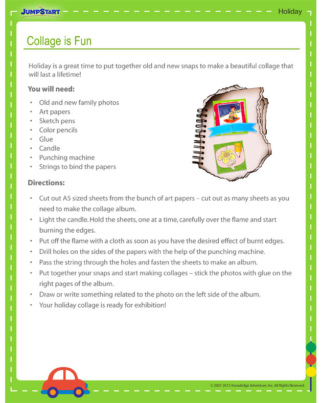 Collage is Fun! - Free holiday activity printout