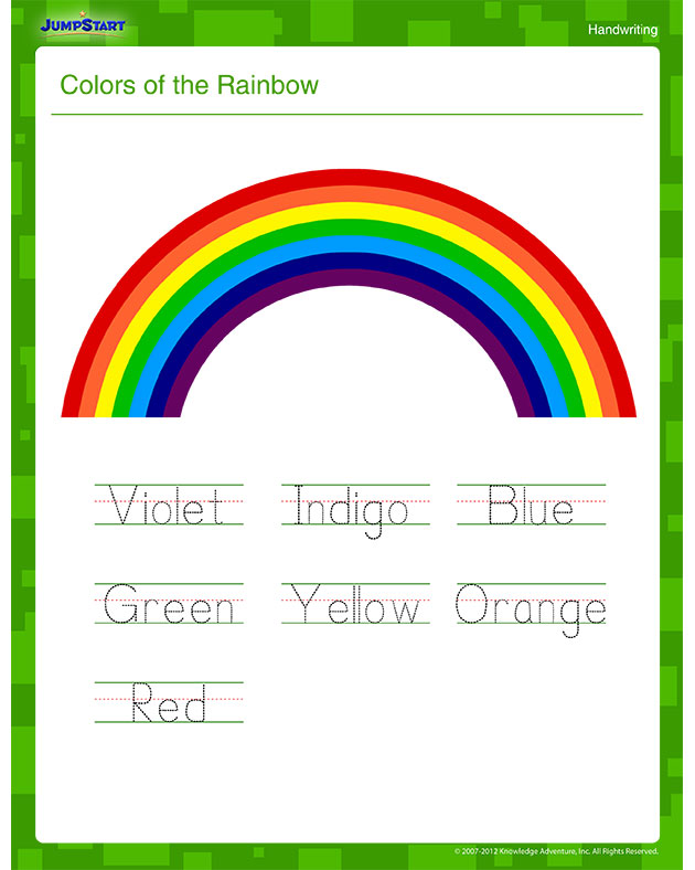 Colors of the Rainbow – Printable Writing Worksheet for Kids
