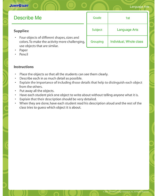 describe me view  u2013 printable lesson plan for 1st graders