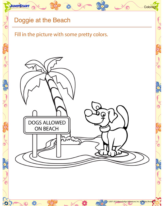 Doggie At The Beach Summer Coloring Worksheet For Kids
