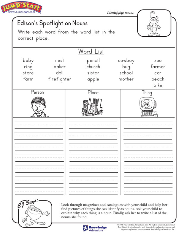 Noun Worksheets 2nd Grade English on 2nd grade pronoun worksheets