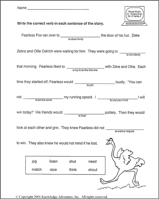 Fill In The Blank Worksheets For 1st Graders