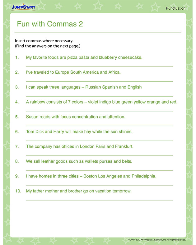 ... Commas 2 View – Free Punctuation Worksheets Online – JumpStart