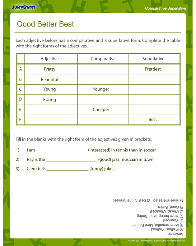 good better best  u2013 printable grammar worksheet for 3rd