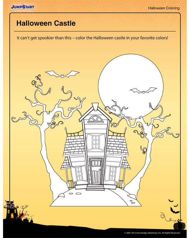 Halloween Castle - Free Halloween Coloring Printable for Kids