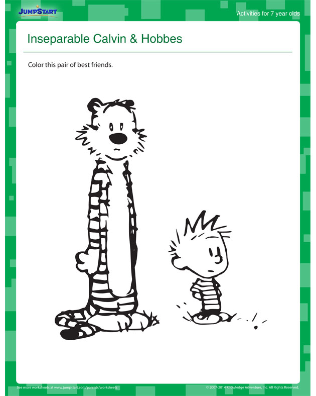 Inseparable Calvin & Hobbes - Cool Online Activity for 7 Year Olds