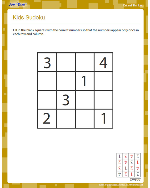 Kids Sudoku View Free Critical Thinking Worksheet For