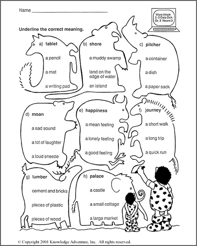 Know More Nouns Word Meanings 3rd Grade Language Arts Worksheet – 3rd Grade Ela Worksheets