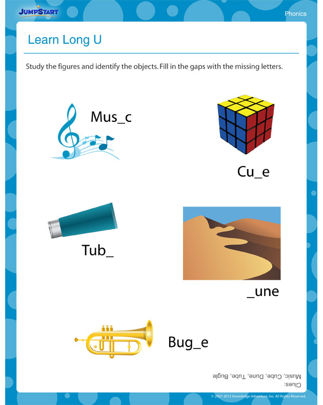 Learn Long U – Free Reading Worksheet for Kids