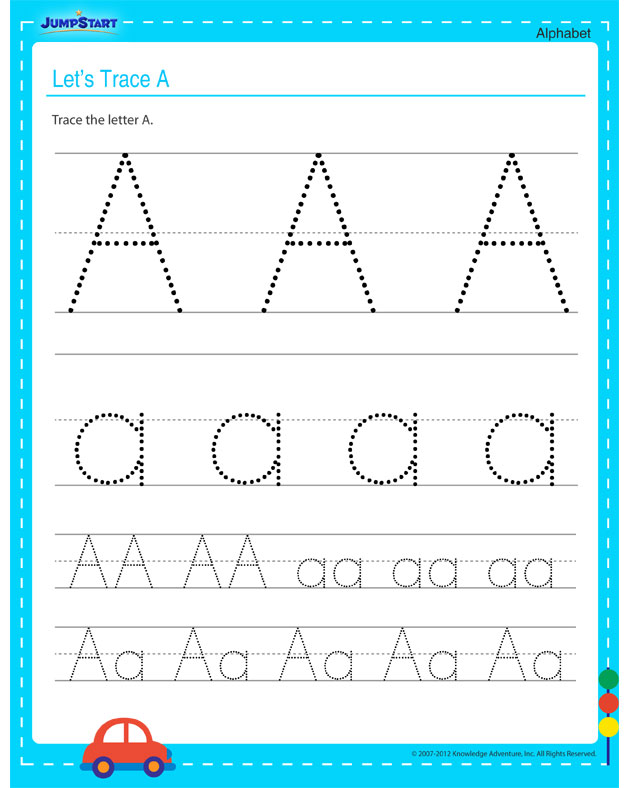 let s trace a view free fun alphabet worksheets for kids jumpstart. Black Bedroom Furniture Sets. Home Design Ideas