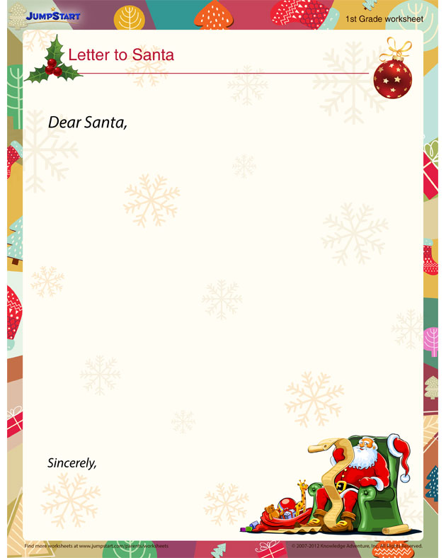 Letter to Santa View u2013 Christmas Worksheets for Kids ...