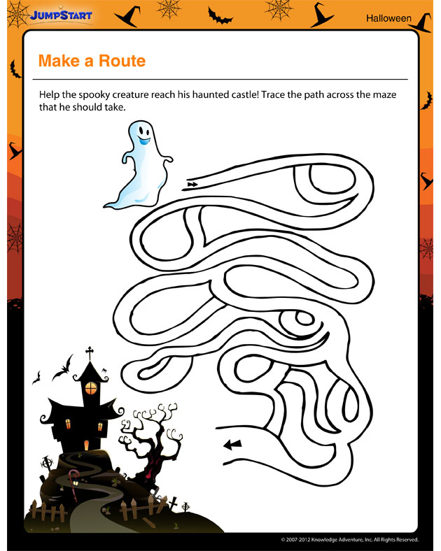 Make a Route - Free Halloween Printable for Kids