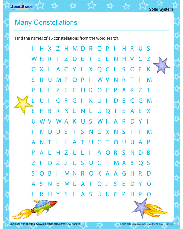 Constellation worksheets for kindergarten