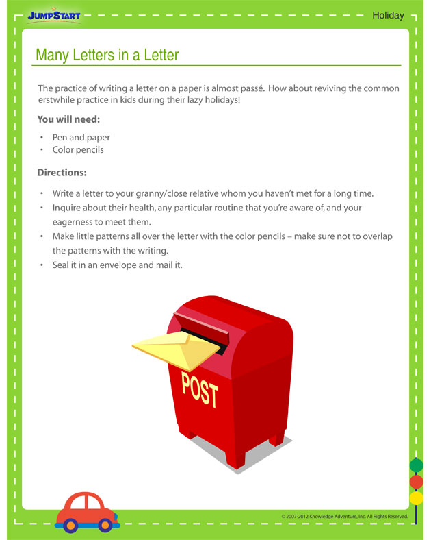 Many Letters in a Letter - Free holiday activity printout