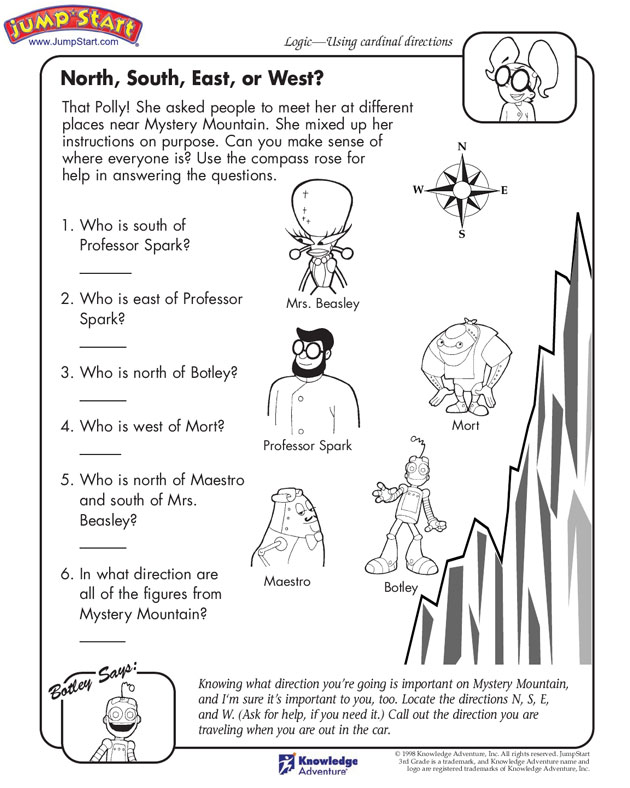 Compass rose worksheet for first grade
