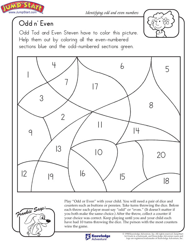Odd n' Even View – Math Worksheet on Odd and Even Numbers – JumpStart