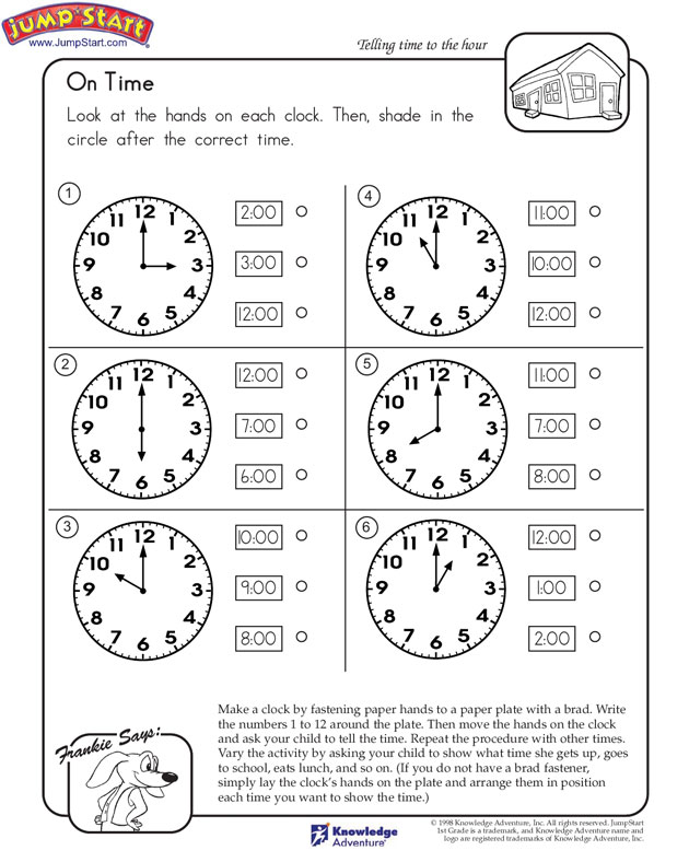 Oclock worksheets pdf