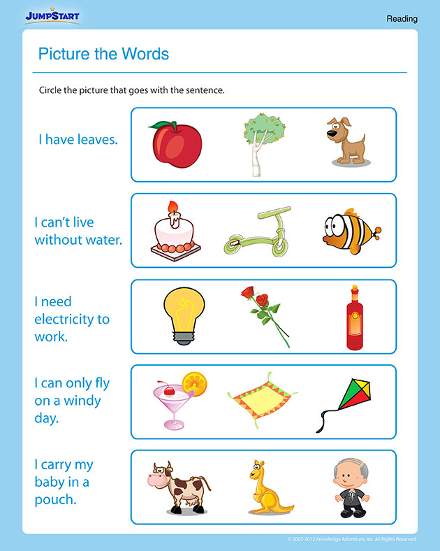 picture the words  u2013 free 1st grade reading worksheet