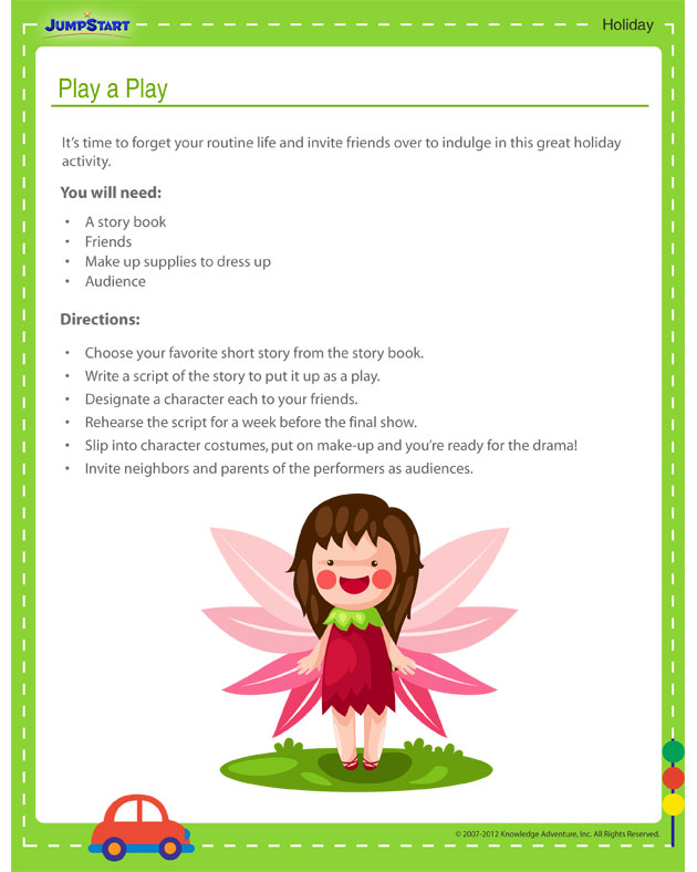Play a Play - Free holiday activity printout