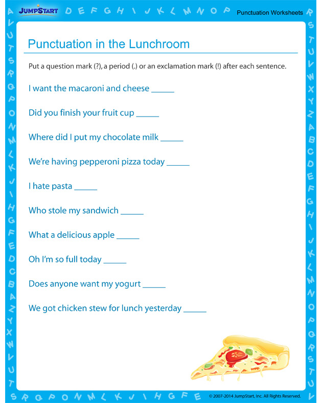 Punctuation in the Lunchroom - Use this to practice using proper punctuation