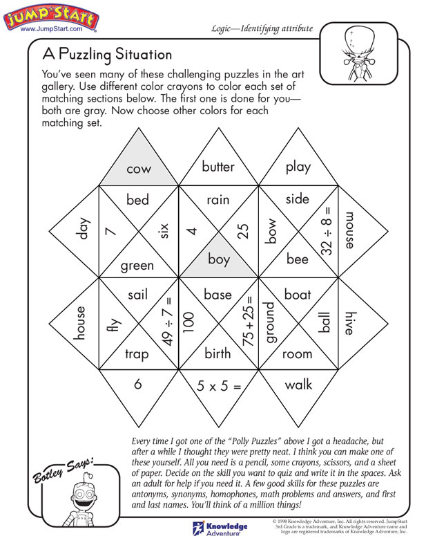 A Puzzling Situation Logical Reasoning Worksheets for Kids – Logic Worksheets