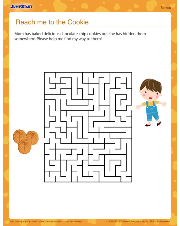 Reach Me to the Cookie! – Free printable worksheet for kids