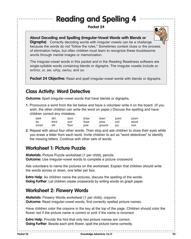 Reading and Spelling 4 - Fun, Free Reading Lesson Plans for Teachers
