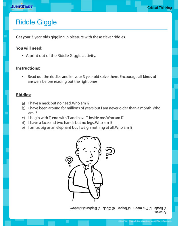 Riddle Giggle – Free Printable Activities for Toddlers