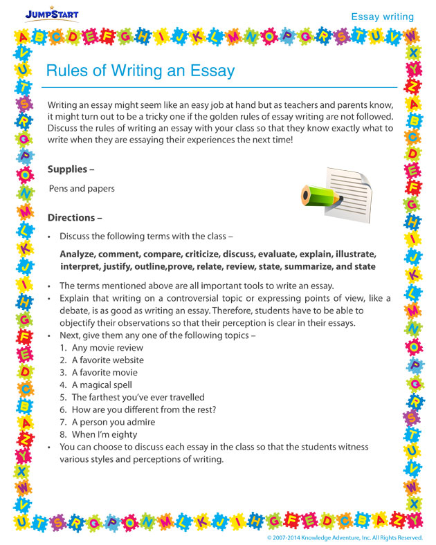 rules in an essay