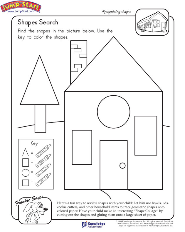 Shapes Search View Math Worksheet on Shapes for 1st Graders