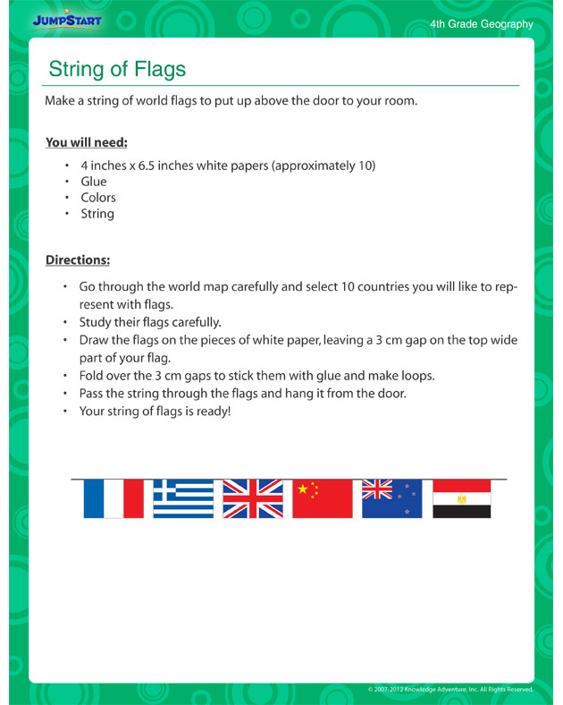String of Flags - Free geography classroom activity with kids
