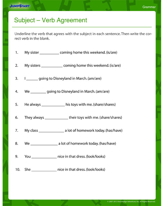 Subject – Verb Agreement – Fun And Printable Third Grade