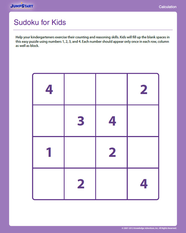 Sudoku for Kids View - Free Counting Worksheets for ...