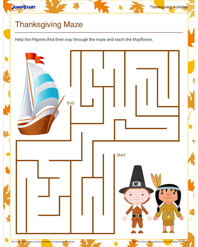 Thanksgiving Maze - Free Thanksgiving Activities for Kindergarteners