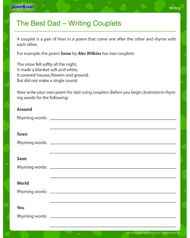 ... Father's Day Poetry Writing Worksheet for Third Grade - JumpStart