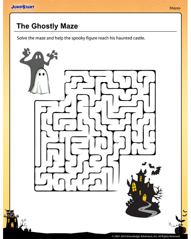 The Ghostly Maze – Halloween printables for kids!