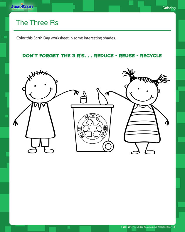 The Three Rs View on Recycle Worksheets 1st Grade Science