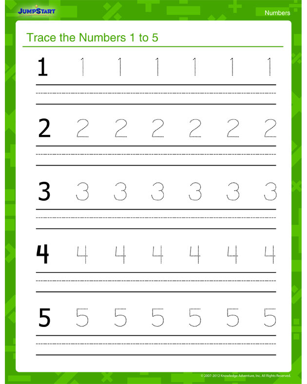 trace the numbers 1 to 5 view numbers worksheet for kids