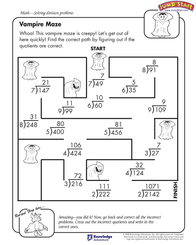 Free Math Worksheets Grade 4 Division Free Printable Fourth Grade – Division Worksheets with Pictures